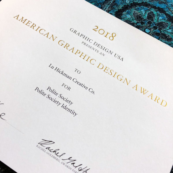 Photo of the award certificate